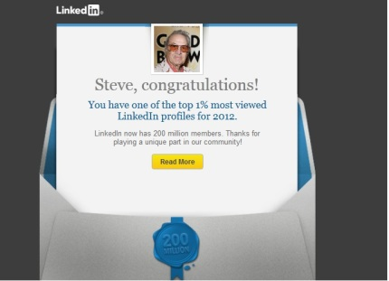 Steve Rossi is in the top 1% of LinkedIn 200 Million Member profiles viewed in 2012!