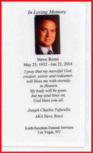 Steve Rossi Prayer Card